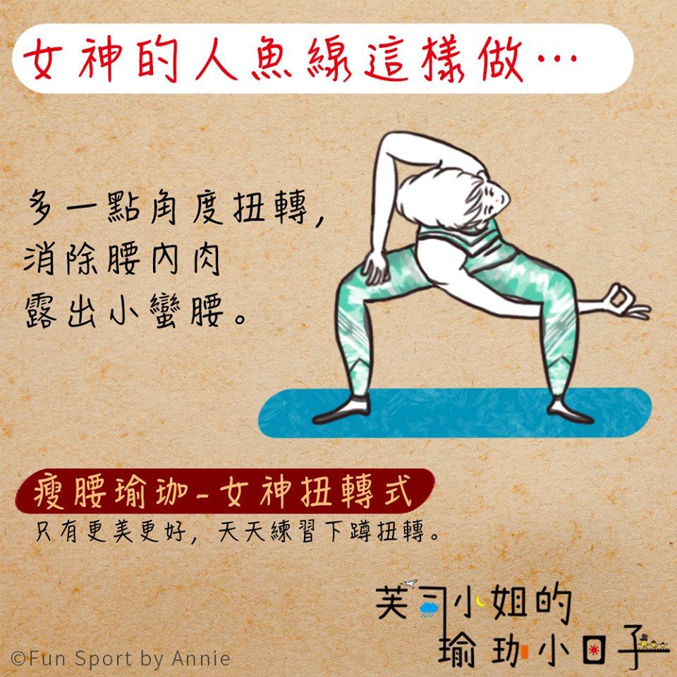 瘦腰瑜珈-女神扭轉式💃》,讓肩膀下彎,多讓側腰伸展,誰說腰內肉會消不掉呢?還有蹲低一點,強化臀肌的訓練,臀肌髖部有力就好跑步,也不容易胖!大家加油!快過年了,👣👣瘦瘦等新春走春喲👣👣~